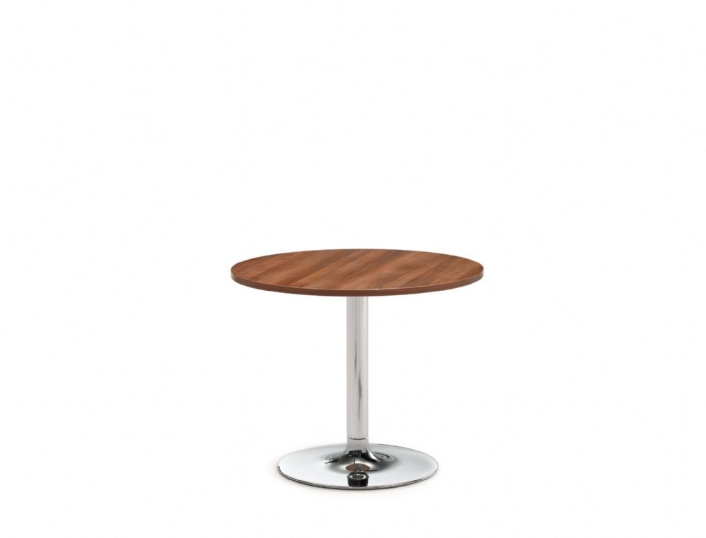 Pledge Avant 800mm Diameter Table With Large Wooden Top And Round Chrome Base